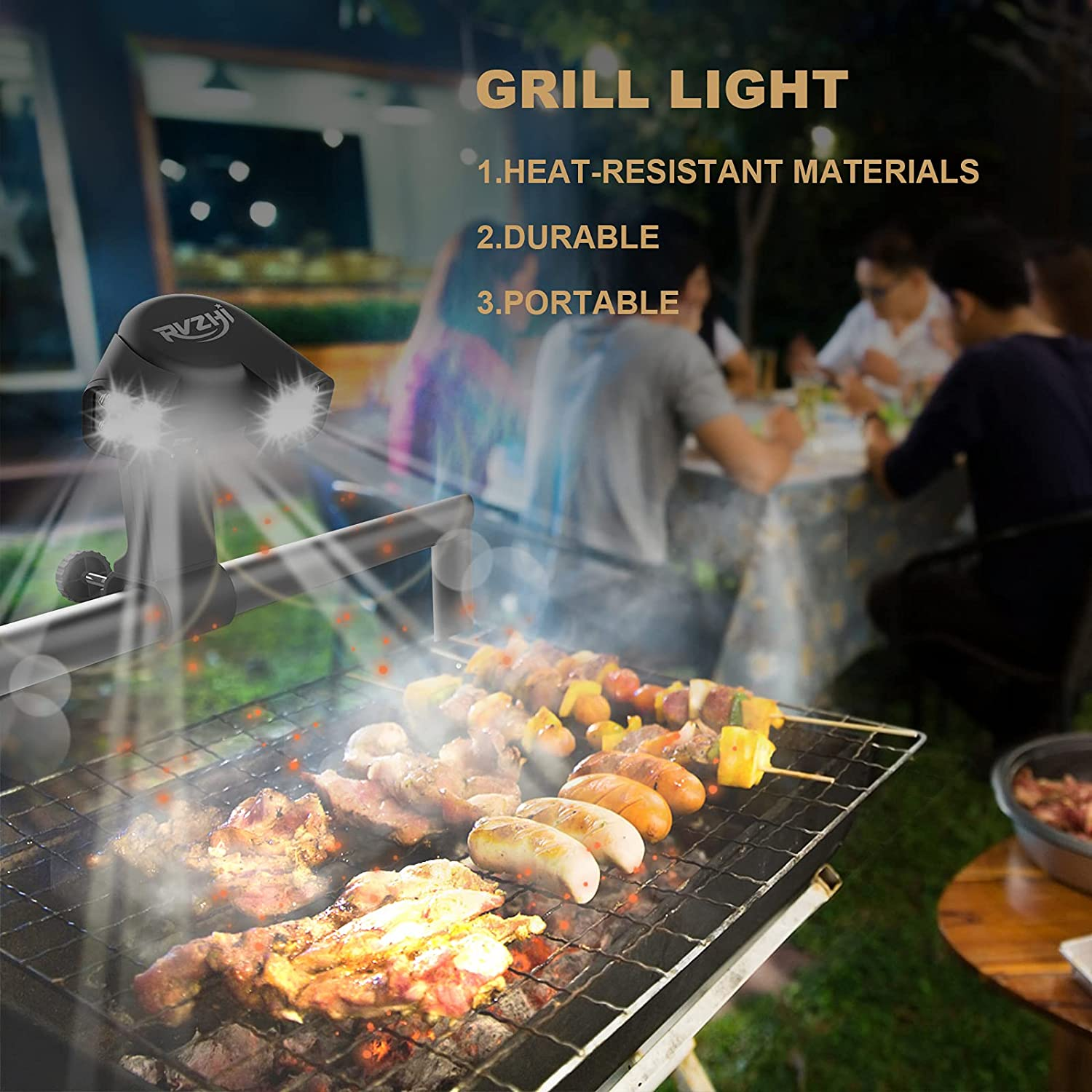 RVZHI Grill Light for BBQ, 180° Durable Flexible Barbecue Light for Night Outdoor, 10 Super Bright LED Lamps Grill Lighting Accessories for Grill Handle, Included 3 Battery - 2021 Upgrade Version : Patio, Lawn & Garden