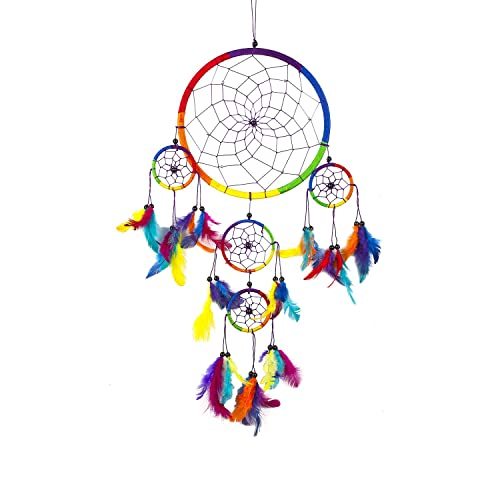6c42342a64f6f Pink Pineapple Large Handmade Bohemian Dream Catcher Ethical Hanging  Dreamcatcher Wall Art with Rainbow Coloured Feathers