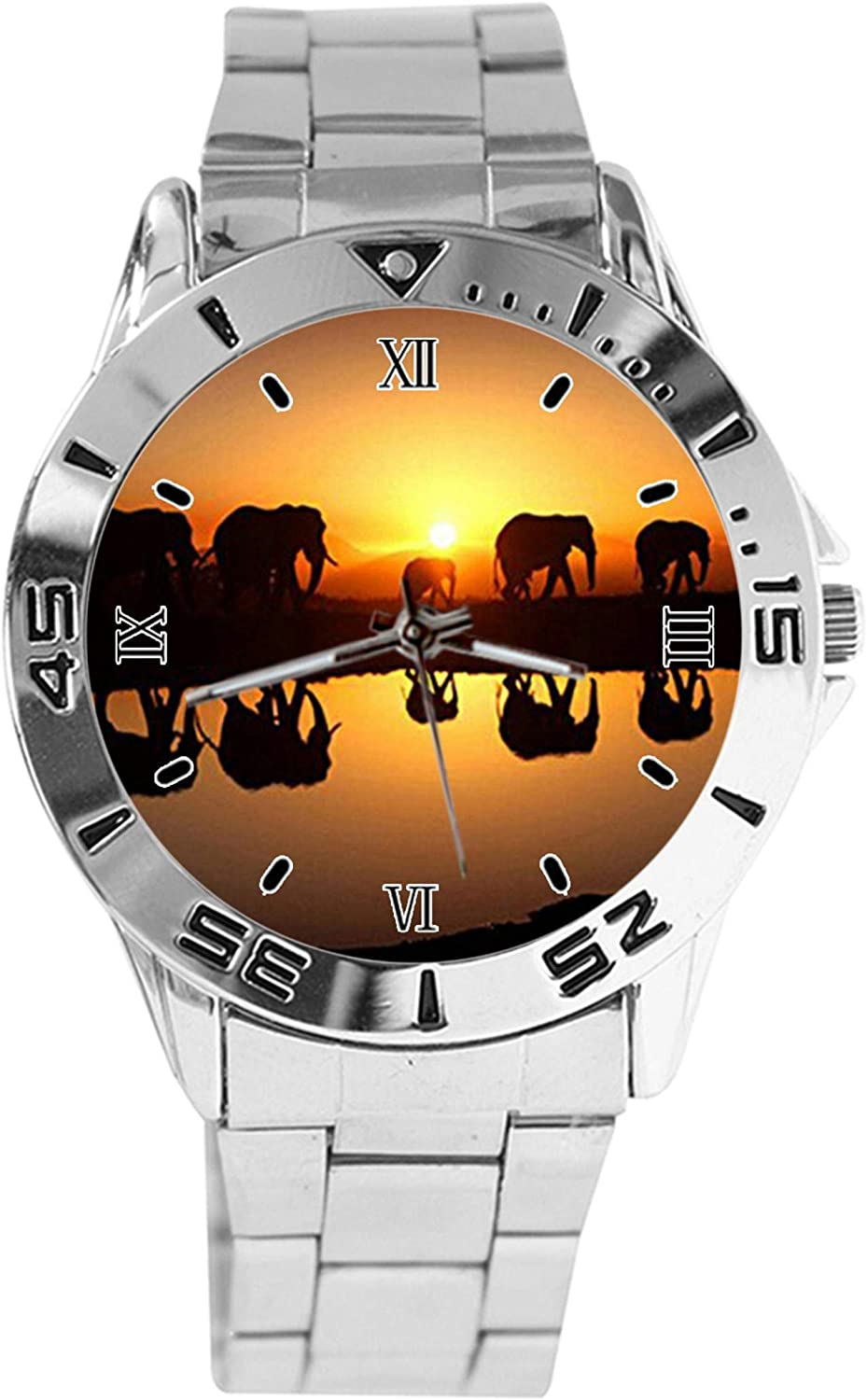 Elephants in The Evening Design Watch Wrist Large discharge Ranking TOP14 sale Silver Quartz Analog