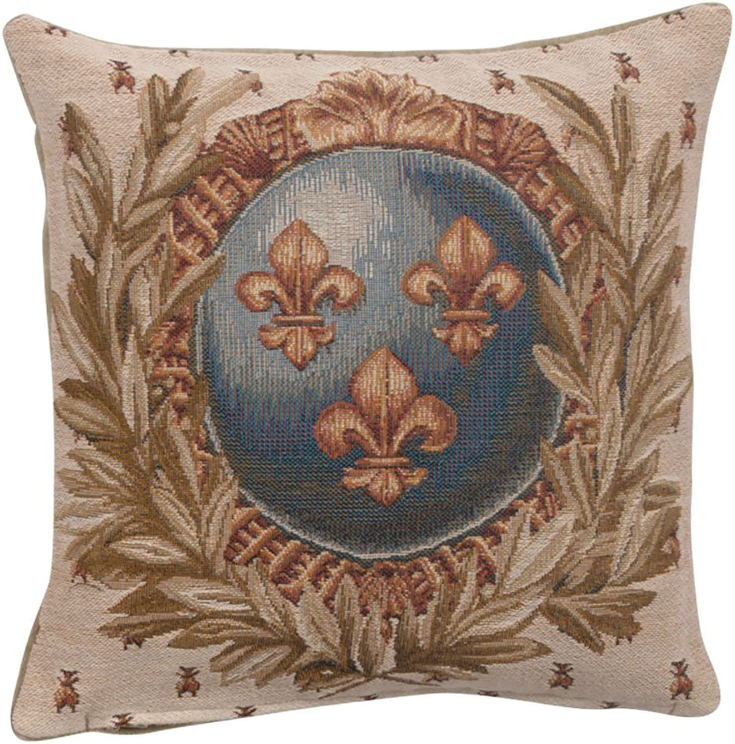 Jacquard woven French tapestry, Empire Lys Flower. 14 x 14  designer decorative accent cushion covers. Hand finished throw pillows for couch and sofas.