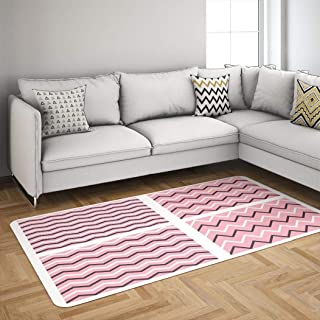 Pink Zigzag Gzoey Area Rugs,Tile with Pink White and Black Zig Zag Abstract Banner Rugs for Living Room Badroom Dorm Rug 5'x7' Carpet Tile Pink White