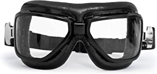 Bertoni Motorcycle Vintage Goggles That Fit Over Glasses - Black Steel Profile - Antifog and Anticrash Lenses Italy - AF194A