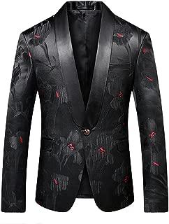 Men Slim Fit Blazer Suit Jacket Black Printed Jacquard Sport Coat