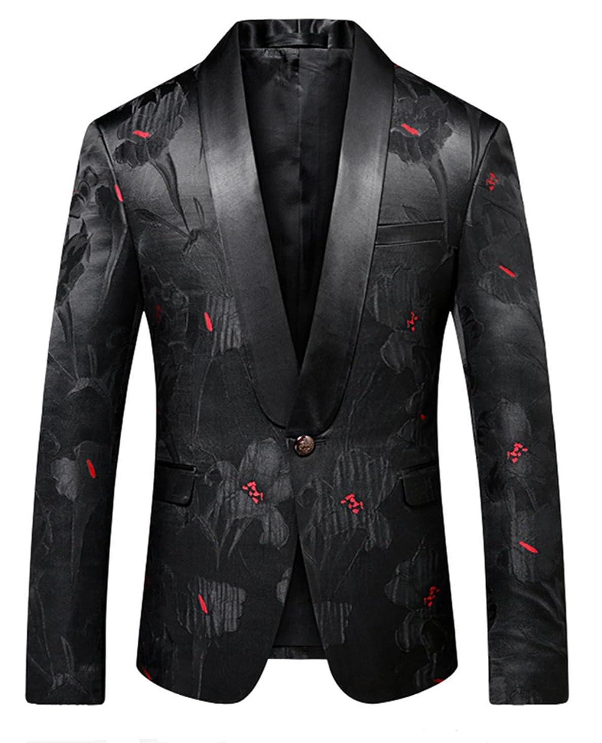 MOGU Men Slim Fit Blazer Suit Jacket Black Printed Jacquard Sport Coat