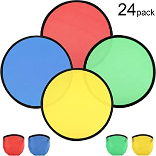 Gejoy 6 Pieces Silicone Flying Disc/Dog Training Flyer Dog Toy Disc and 6 Pieces Folding Toy Pocket Foldable Flying Disc for Pet Party Favors Summer Outdoor Activity Game Assorted Color