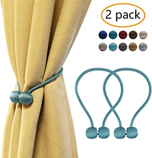 YOBAYE Magnetic Curtain Tiebacks, 2 Pack Drape Tie Backs Decorative Curtain Rope Holdbacks for Home Kitchen Office Window Drapes, No Drilling & Holes Required,Blue