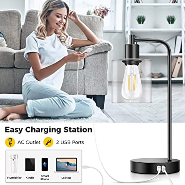 Set of 2 Industrial Touch Control Table Lamps with 2 USB Ports and AC Power Outlet, 3-Way Dimmable Bedside Nightstand Reading