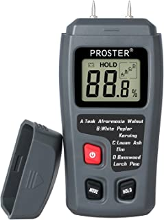 Proster Handheld Wood Moisture Test Meter LCD Moisture Tester for Wood Moisture Detector for Firewood Paper Humidity Measuring Include 9V Battery with 2 Test Probe Pins