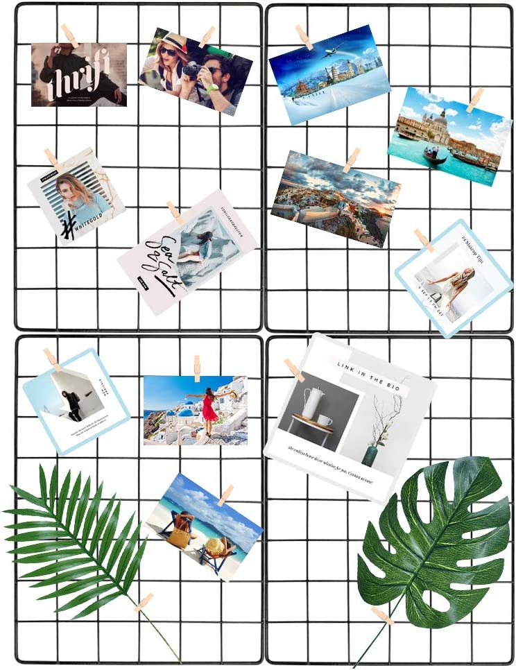 YESURPRISE Wire Hanging Wall Grid - Metal Photo Grid Panels Picture Display Wall Decoration for Home Office - Art Display Frames - Plant Hanging - 15.7x11.8 Inches Set of 4 (Black)