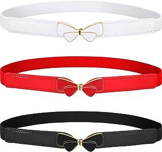 Blulu 3 Pieces Women Skinny Waist Belt Elastic Thin Belt Waist Cinch Belt for Women Girls Accessories (Set 1)