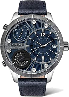 Police Men's Stainless Steel Quartz Watch with Leather Strap, Blue, 24 (Model: PL15662XSTU.03)