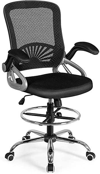 Giantex Mesh Drafting Chair Adjustable Height With Lumbar Support Ergonomic Computer Chair W Flip Up Arms Footrest Ring Padded Seat Swivel Rolling Executive Chair