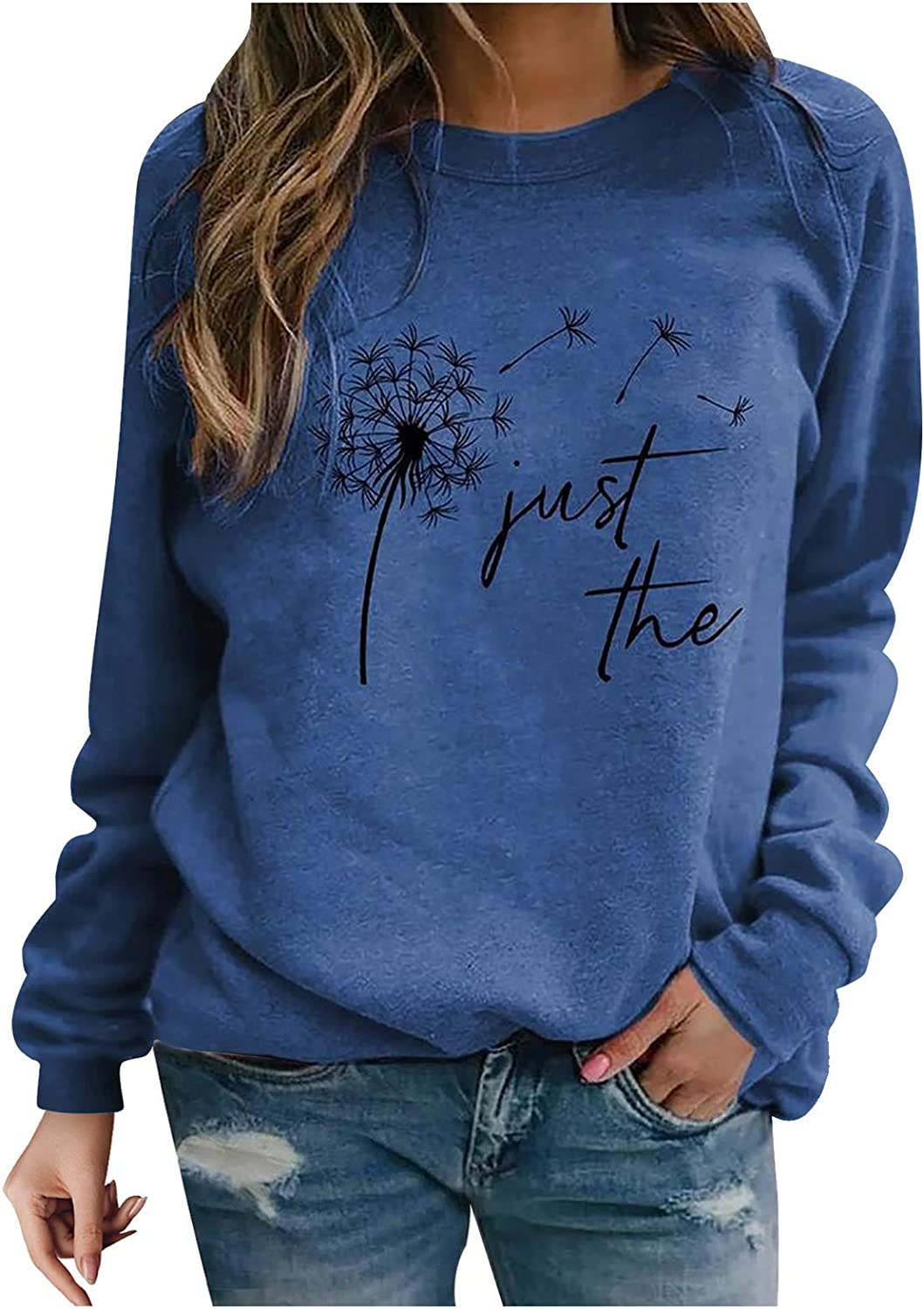 Crewneck Sweatshirts for Women, Women's Casual Long Sleeve Loose Pullover Top Shirts Oversized Sweatshirts with Sayings