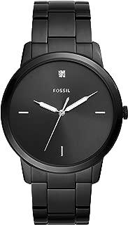 Fossil Men Minimalist Carbon Series Stainless Steel Diamond Accent Dress Quartz Watch