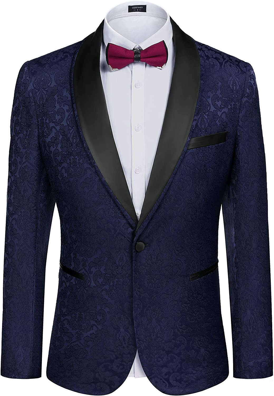 COOFANDY Men's Floral Tuxedo Free Shipping New Suit Jacket New Shipping Free Slim Fit Dinner