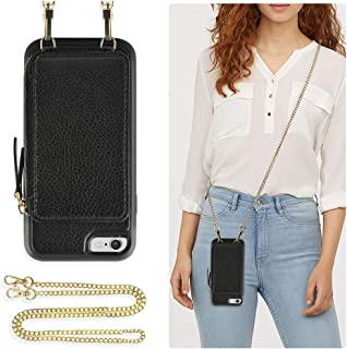 ZVE Case for Apple iPhone 6 and iPhone 6, 4.7 inch, Zipper Wallet Case with Crossbody Chain Credit Card Holder Slot Handbag Purse Wrist Strap Print Case for Apple iPhone 6 /6s 4.7 inch - Black