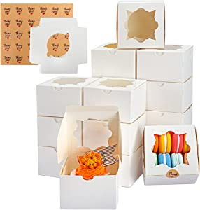 TOMNK 60pcs White Bakery Boxes with Window Cookie Boxes 4 inch Pastry Boxes for Cupcakes Candy Chocolate Strawberries Muffins Donuts and Party Favor 4x4x2.5 Inches