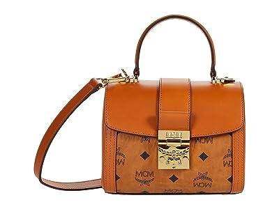 MCM Tracy Visetos Satchel Small (Cognac) Handbags