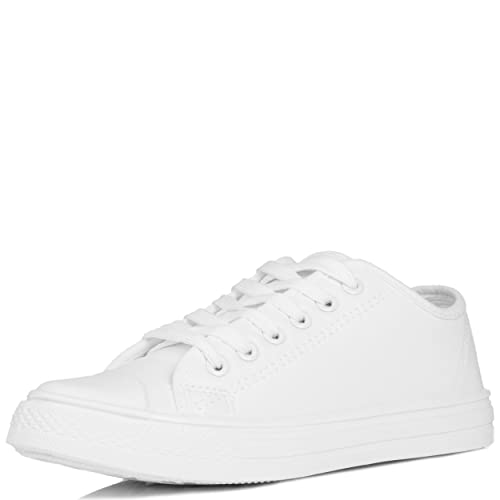 36a585defc7b7 White Leather Trainers: Amazon.co.uk