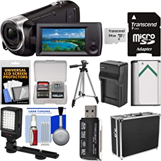 Sony Handycam HDR-CX440 8GB Wi-Fi 1080p HD Video Camera Camcorder with 64GB Card + Hard Case + LED Light + Battery & Charger + Tripod + Kit