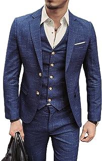 Herren Slim Fit 3Piece Suit With Vest Jacket Suit Trousers Business Smoking by Harrms
