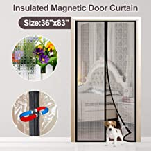 Insulted Door Curtain, IKSTAR EVA Door Cover for Exterior/Interior/Kitchen Doors, Keep Draft Air Out, Pets/Kids Walk Through Free, with Full Frame Loop&Hook, Hands Free Closure Fit Door Size Up to 3