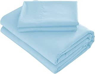 Prime Bedding Bed Sheets - 3 Piece Twin Sheets, Deep Pocket Fitted Sheet, Flat Sheet, Pillow Case - Baby Blue