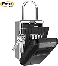 IOppWin Key Lock Box, Large Capacity Wall Mounted Weatherproof Key Safe Box with 4 Digit Combination,Ideal for Outdoor Home Office Garage Schools Businesses Gym Spare House(with Waterproof Cover)