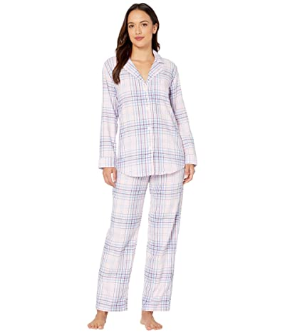 LAUREN Ralph Lauren Petite Classic Wovens Long Sleeve Pointed Notch Collar Long Pants Pajama Set (Multi Plaid) Women