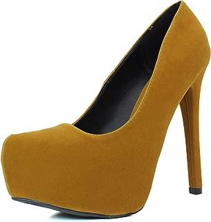 Qupid Women's Marquise-06 Faux Suede Almond Toe Classic Platform Pump, 5.5