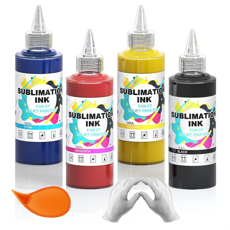 Tonha 400ML Sublimation Ink Refill for Epson C88 C88+ WF7720 ET2720 WF7710 ET2650 ET2750 WF2750 WF3620 Inkjet Printers Heat Press Transfer on Mugs,Plates,Polyester Shirts,Phone Cases(BK/M/Y/C)