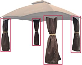 APEX GARDEN 4 Poles Brown Corner Curtain Set for Lowe's 10' x 12' Gazebo Model #GF-12S004BTO / GF-12S004B-1 (Corner Curtains Only)