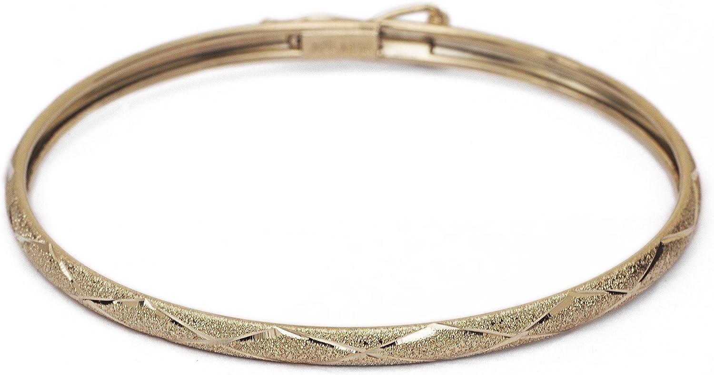 Floreo 10k Yellow Gold 3mm Bangle Bracelet Flexible Round with Diamond Cut Design