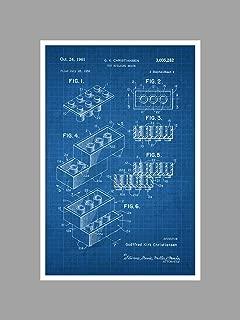 ArtsyCanvas Lego Block - White on Blue Graph - Toy Patents - 24x16 Matte Poster Print Wall Art
