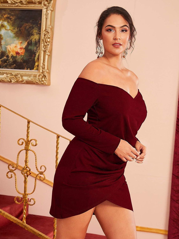 Romwe Women's Plus Size Sexy Off Shoulder Wrap Sweetheart Pleated Front Party Mini Bardot Dress