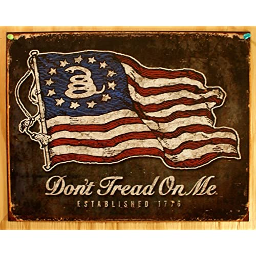 DON/'T TREAD ON ME TIN SIGN PROUD TO BE AN AMERICAN METAL POSTER WALL ART