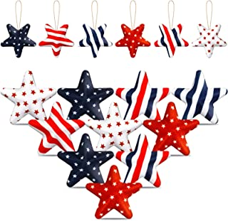12 Pieces 4th of July Decorations Hanging Independence Day Ornaments Fabric Wrapped Hanging Star Ornament American Flag Ha...