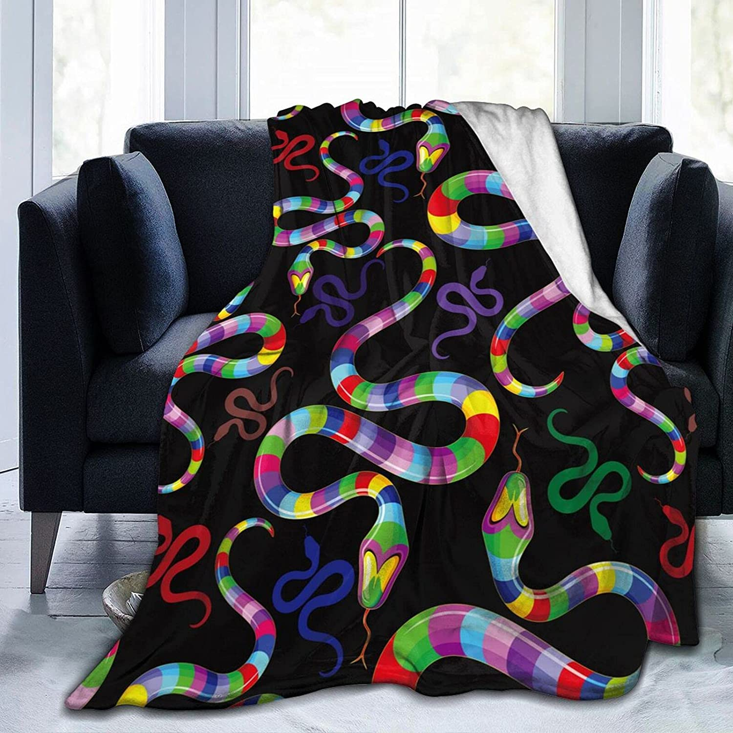 Popular product RISETRIAL Snake Psychedelic Rainbow NEW Throw Blanket Warm Anti Soft