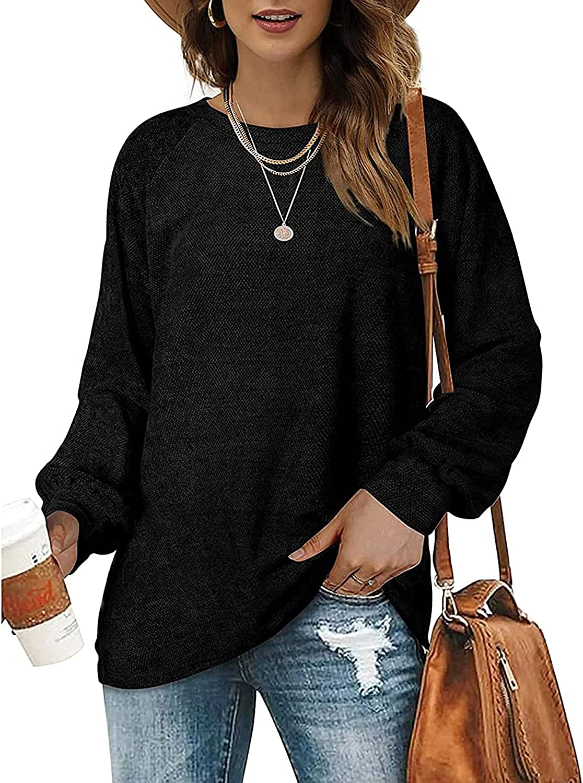OFEEFAN Women's Sweaters Oversized Pullover Sweatshirts Crewneck Balloon Sleeve Tops