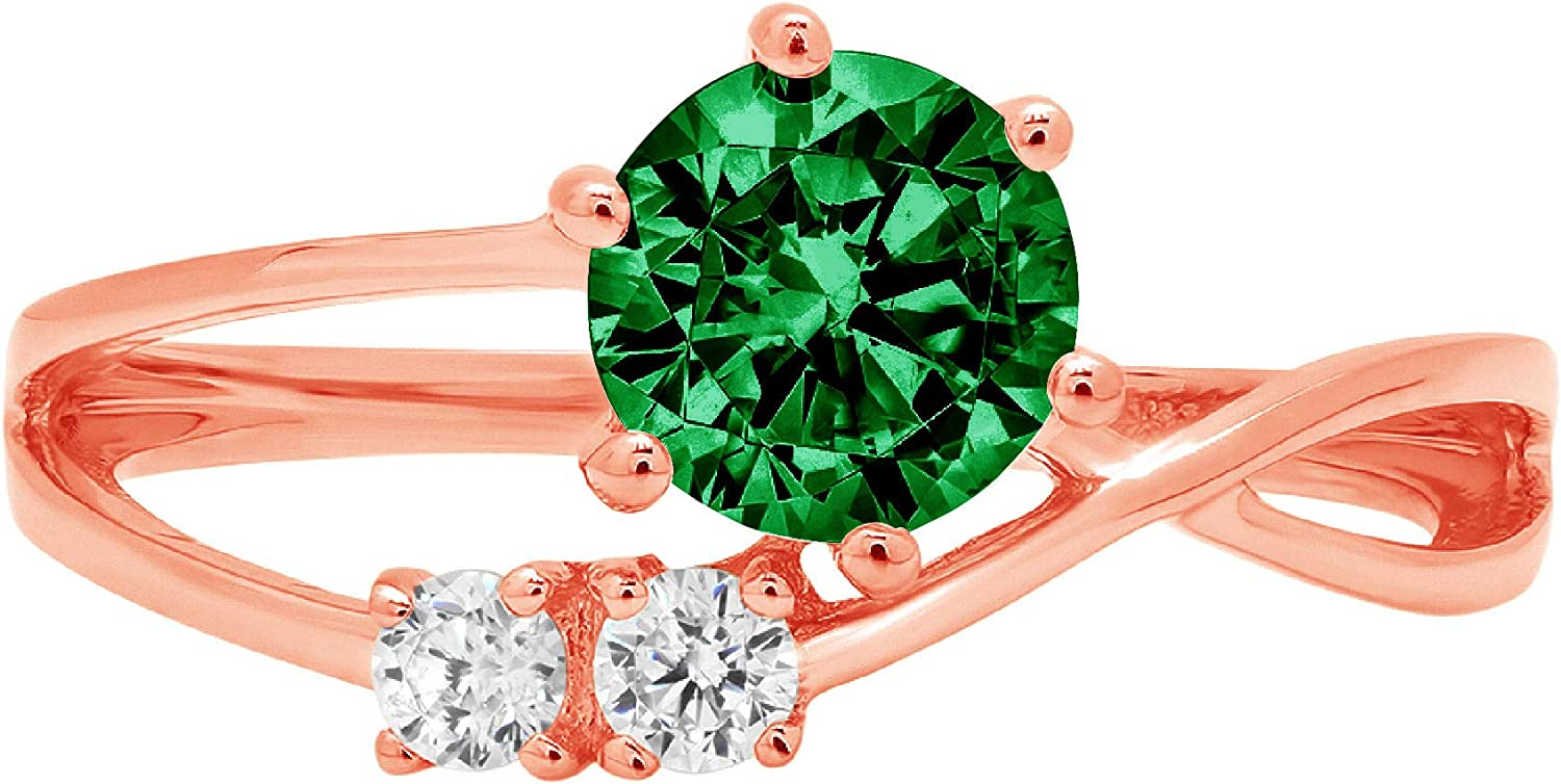 0.85 ct Round Cut 3 stone love Solitaire Genuine Flawless Simulated Emerald Gemstone Engagement Promise Statement Anniversary Bridal Wedding Accent Ring Solid 18K Pink Rose Gold