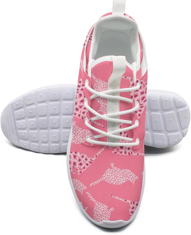 ERSER Pink Leopard Print Cats Outdoor Running shoes Women