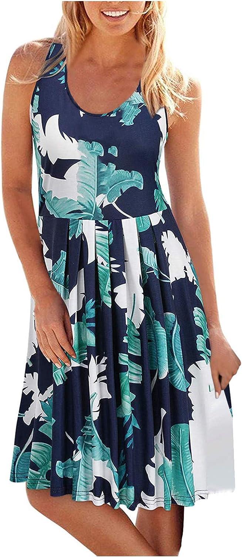 Jaqqra Summer Dresses for Women Beach Sundress Sleeveless Casual Floral Tunic Cami Tank Dress Boho Dress Cover Up Dress