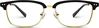 Rectangular Clubmaster Prescription Friendly Semi-Rimless Clear Glasses