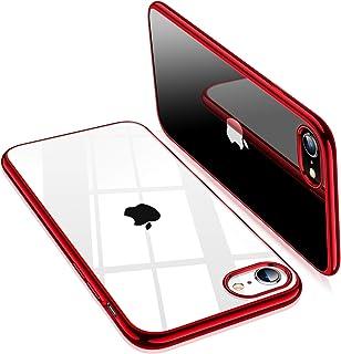 TORRAS iPhone SE ケース[第2世代] iPhone7 ケース iPhone8 ケース【2020年新型】透明 ソフトTPU 赤 メッキ加工 クリア 薄型 軽量 耐...
