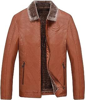 wuliLINL Mens Parka Winter Faux Leather Coats,Windbreaker Fleece Jackets with Thiched Lined Warm Zipper Coat Slim Fit Coat