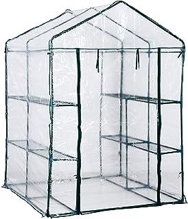 Outsunny Invernadero Transparente de Jardín Vivero Casero Plantas con 3 Pisos 143x143x195cm Marco Acero Jardinería Invernadero