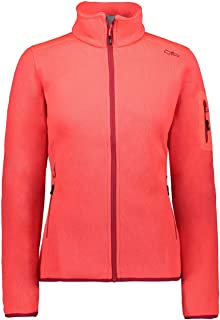 CMP Women's Fleece Melange Jacket KnitTech, Red Fluo-Magenta, 18