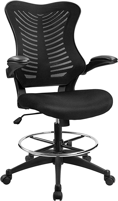 Furmax Drafting Chair Tall Office Chair With Flip Up Armrests Executive Computer Standing Desk Chair With Adjustable Footrest Ring Black