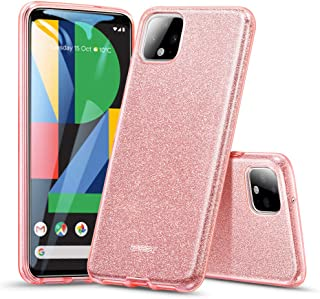 ESR Makeup Glitter Case Compatible for The Pixel 4 XL,  Glitter Sparkle Bling Case Protective Cover [Three Layer][Supports Wireless Charging] for The Google Pixel 4 XL (2019),  Rose Gold