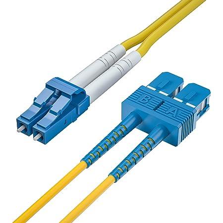 1M Elfcam/® C/âble /à Fibre Optique OS2 Monomode Duplex SC//UPC /á LC//UPC Jarreti/ère Optique